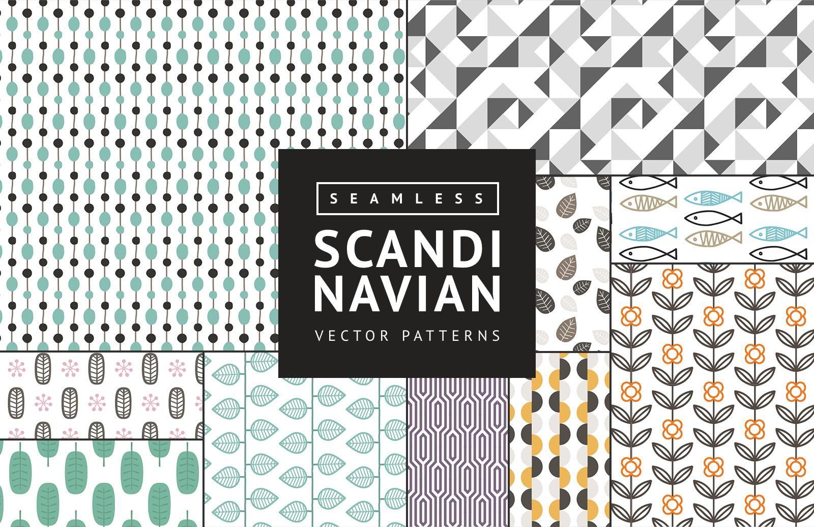 Large Seamless  Scandinavian  Vector  Patterns  Preview 1A