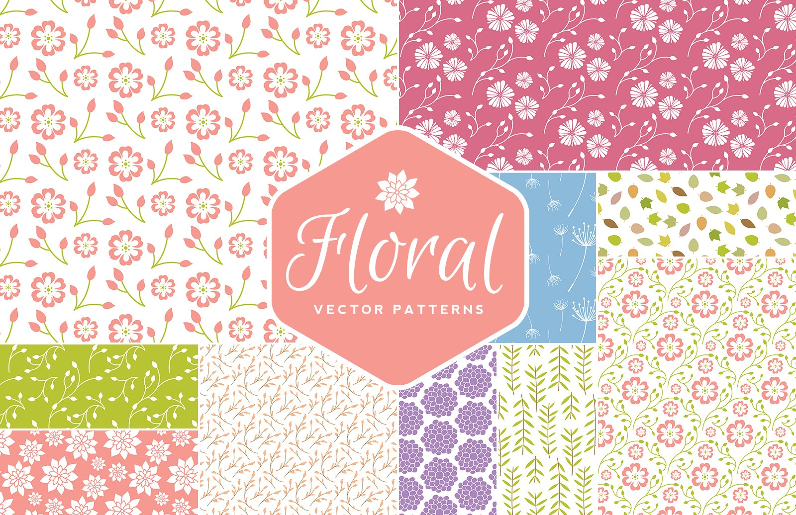 Seamless  Vector  Floral  Patterns  Preview 1