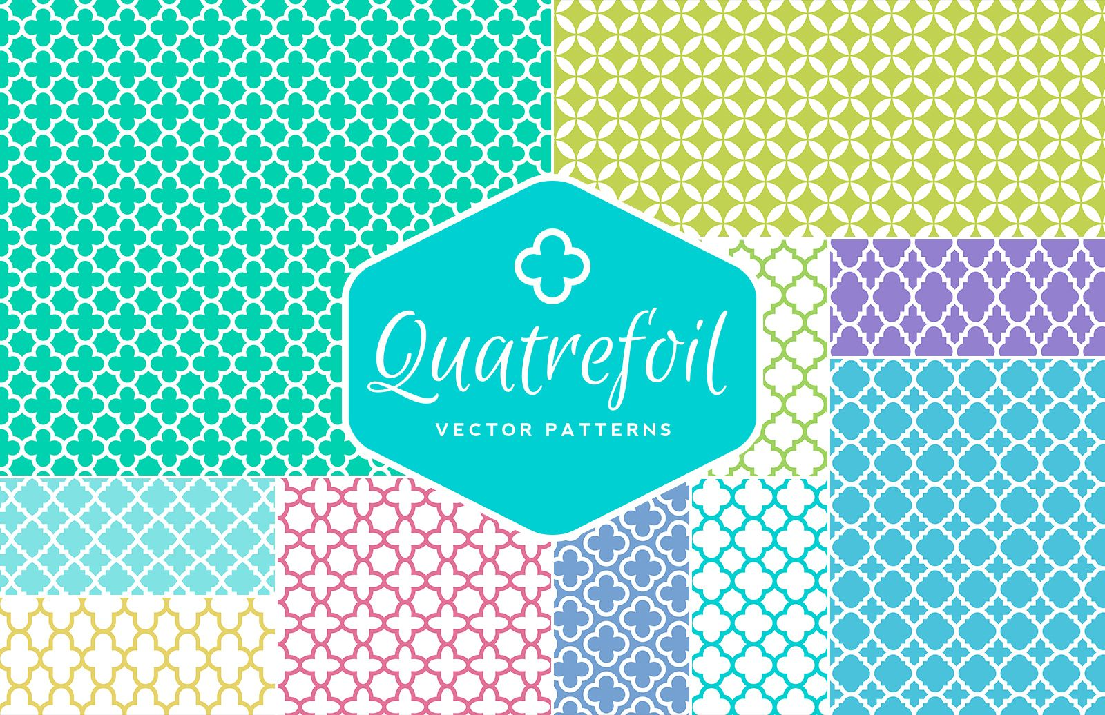 Seamless  Vector  Quatrefoil  Patterns  Preview 1