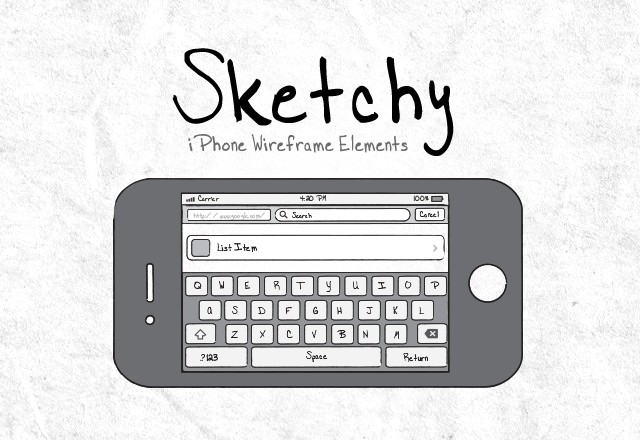 Sketchy I Phone  Wireframe  Elements  Preview1