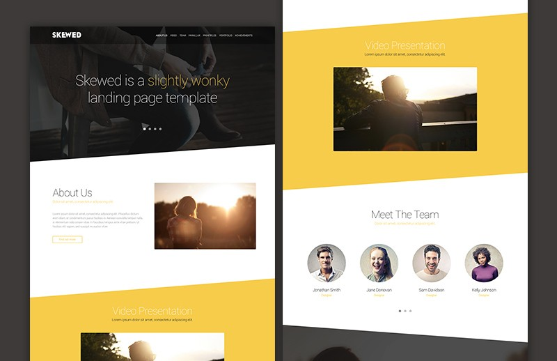 Large Skewed  Landing  Page  Template  Preview 2B