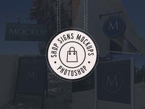 Realistic Shop Sign Mockups (PSD) 1