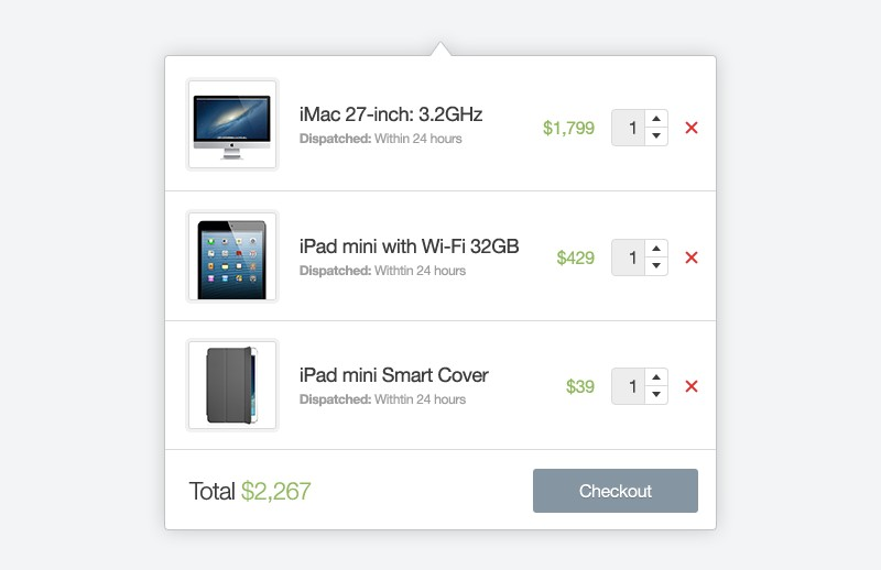 Shopping Cart Dropdown Layouts