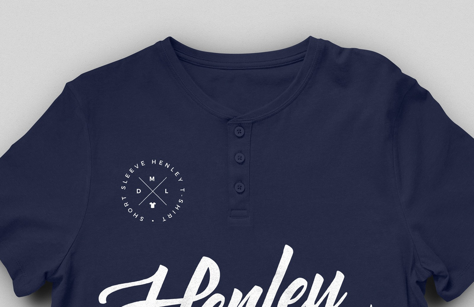 Short Sleeve Henley T-Shirt Mockup 2