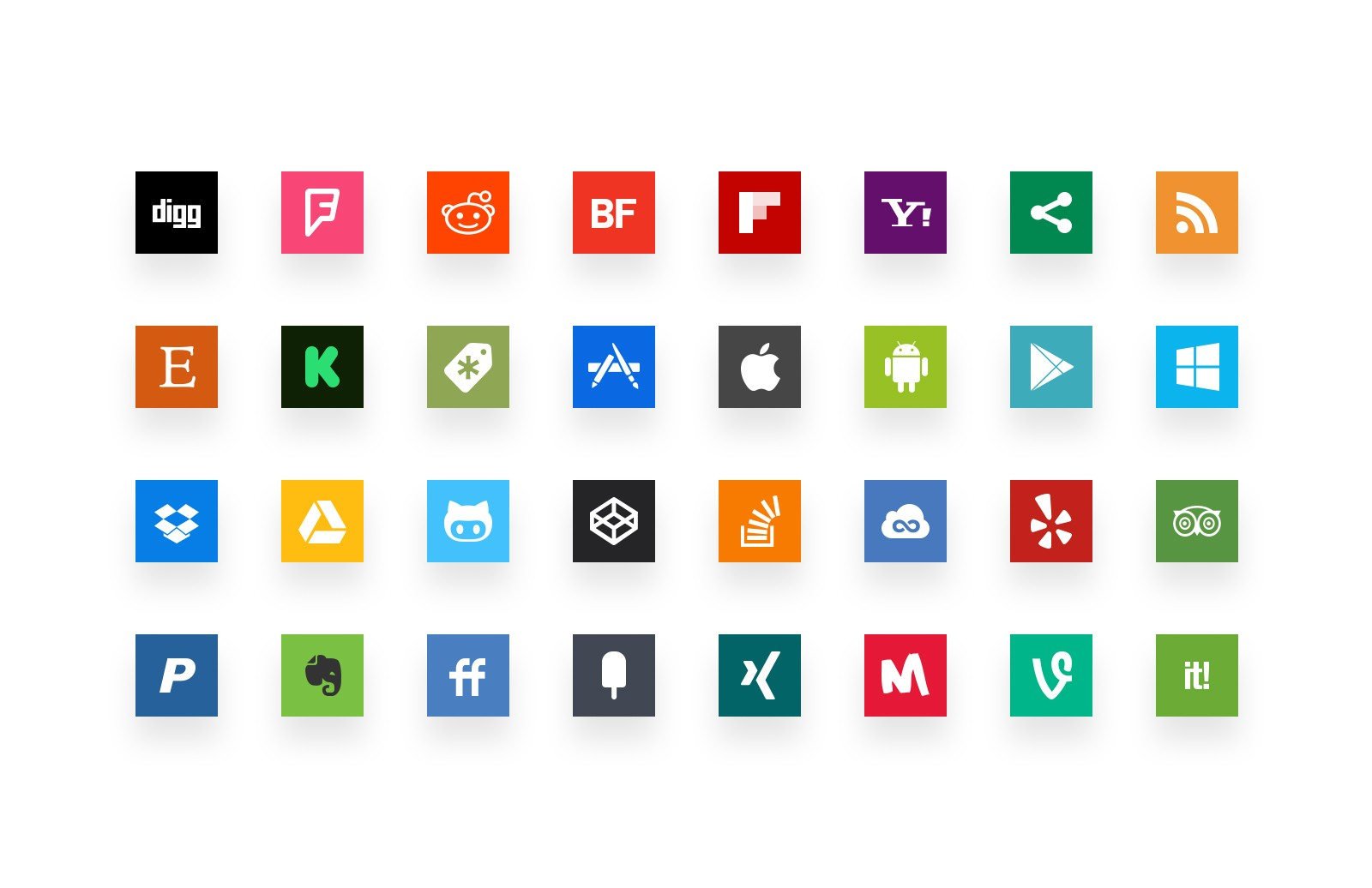 Large Simple  Social  Media  Icons  Preview 2