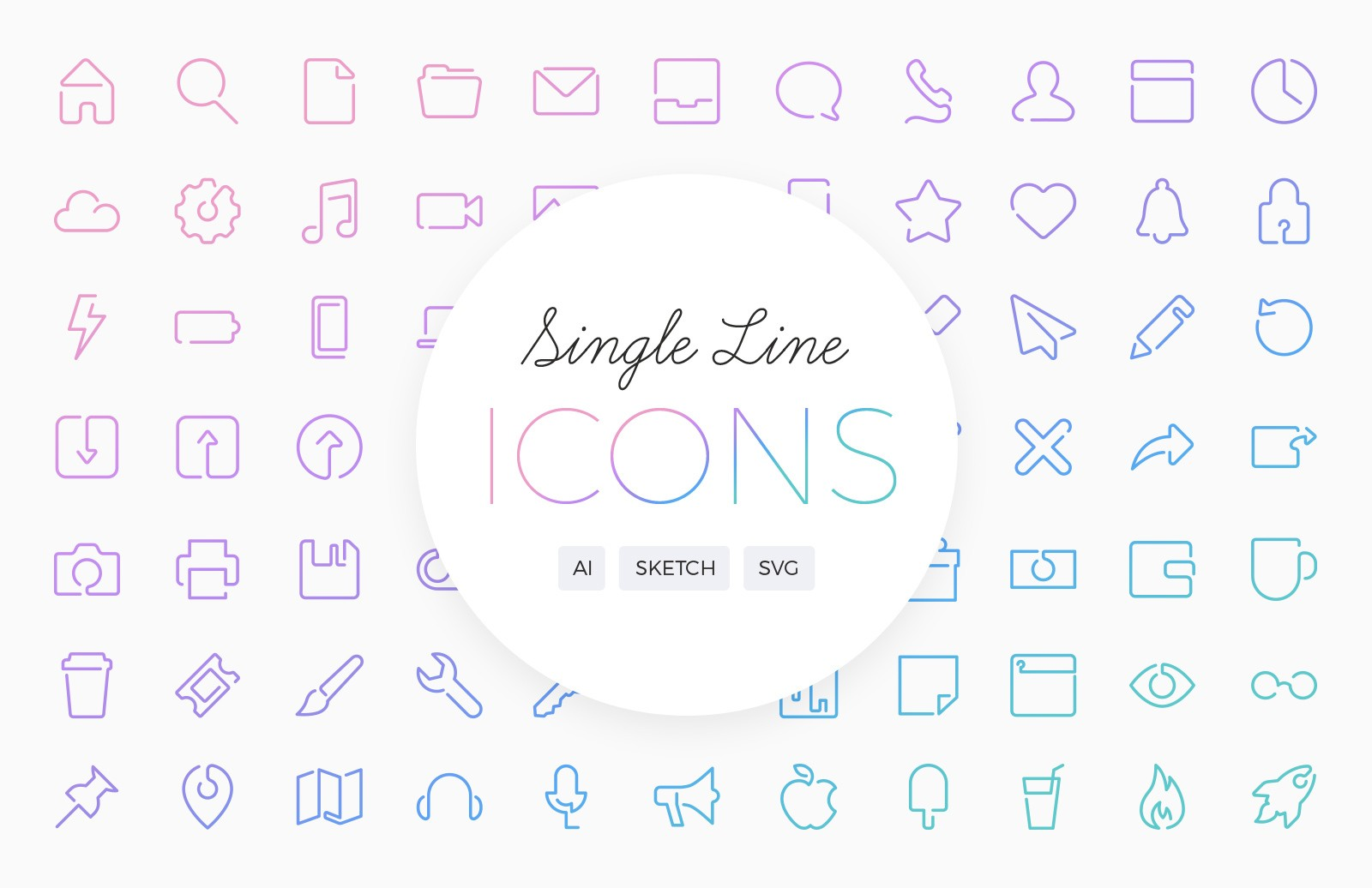 Single Line Vector Icons 2 Preview 1