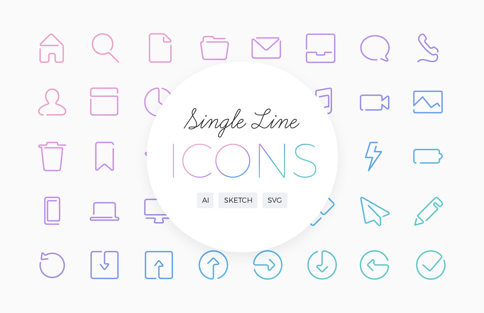 Single Line Vector Icons Preview 1B