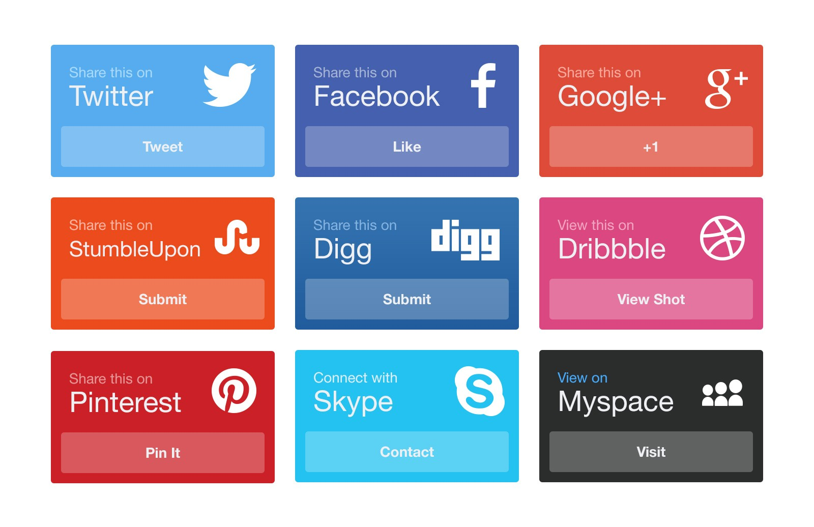 CSS Social Media Sharing Boxes