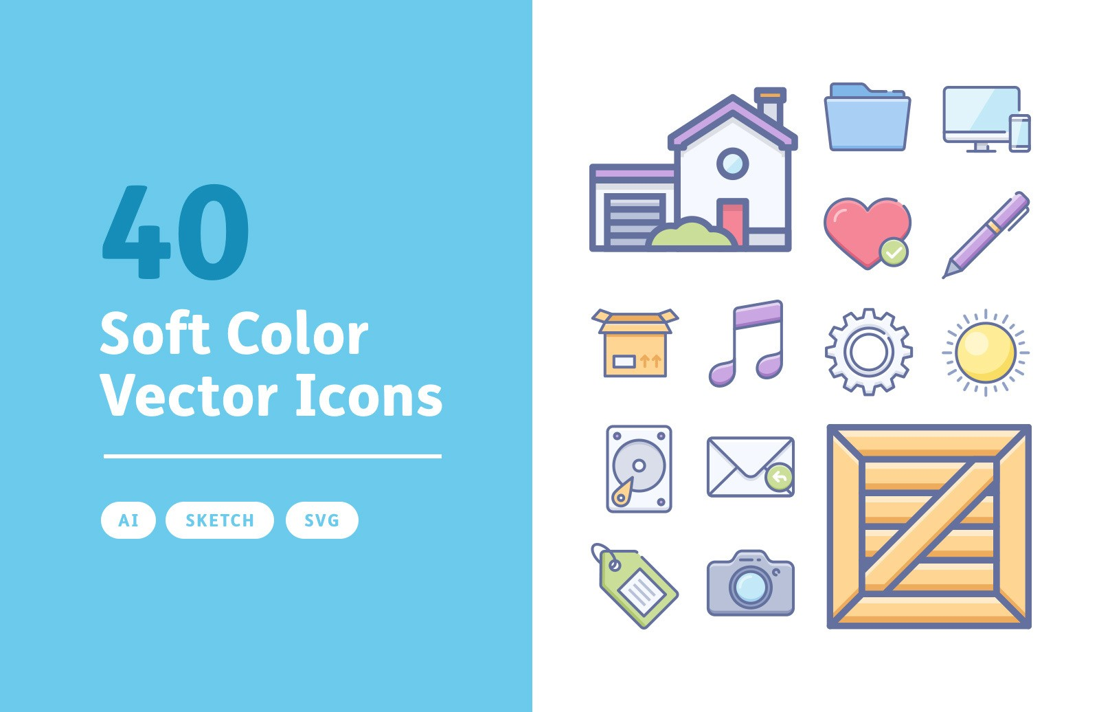Soft Color Vector Icons Preview 1