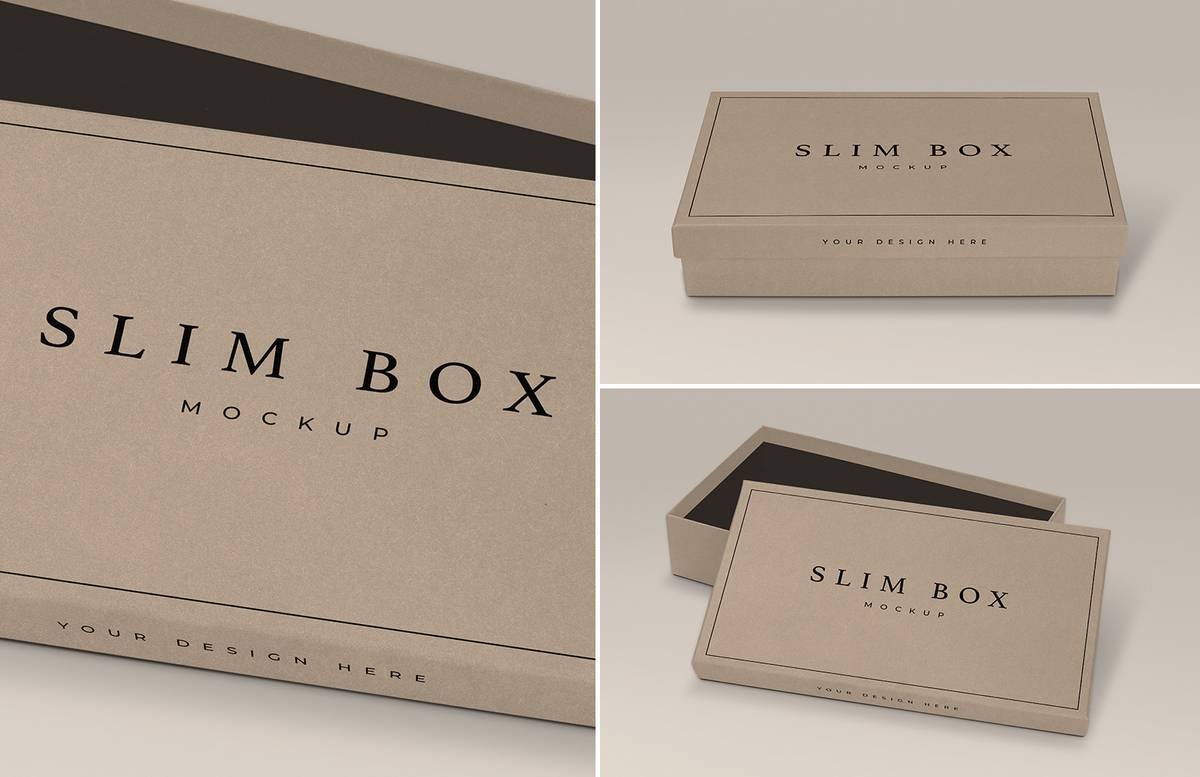 Slim Box Mockup With Open Lid Preview 1B