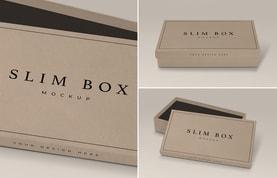 Slim Box Mockup With Open Lid