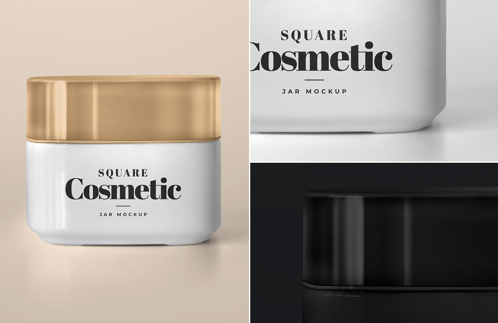 Square Cosmetic Jar Mockup Preview 1