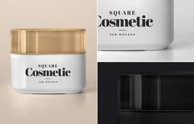 Square Cosmetic Jar Mockup