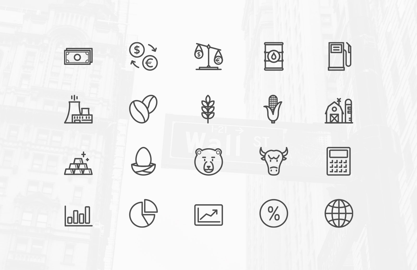 Large Stock  Market  Vector  Icons  Preview 2A