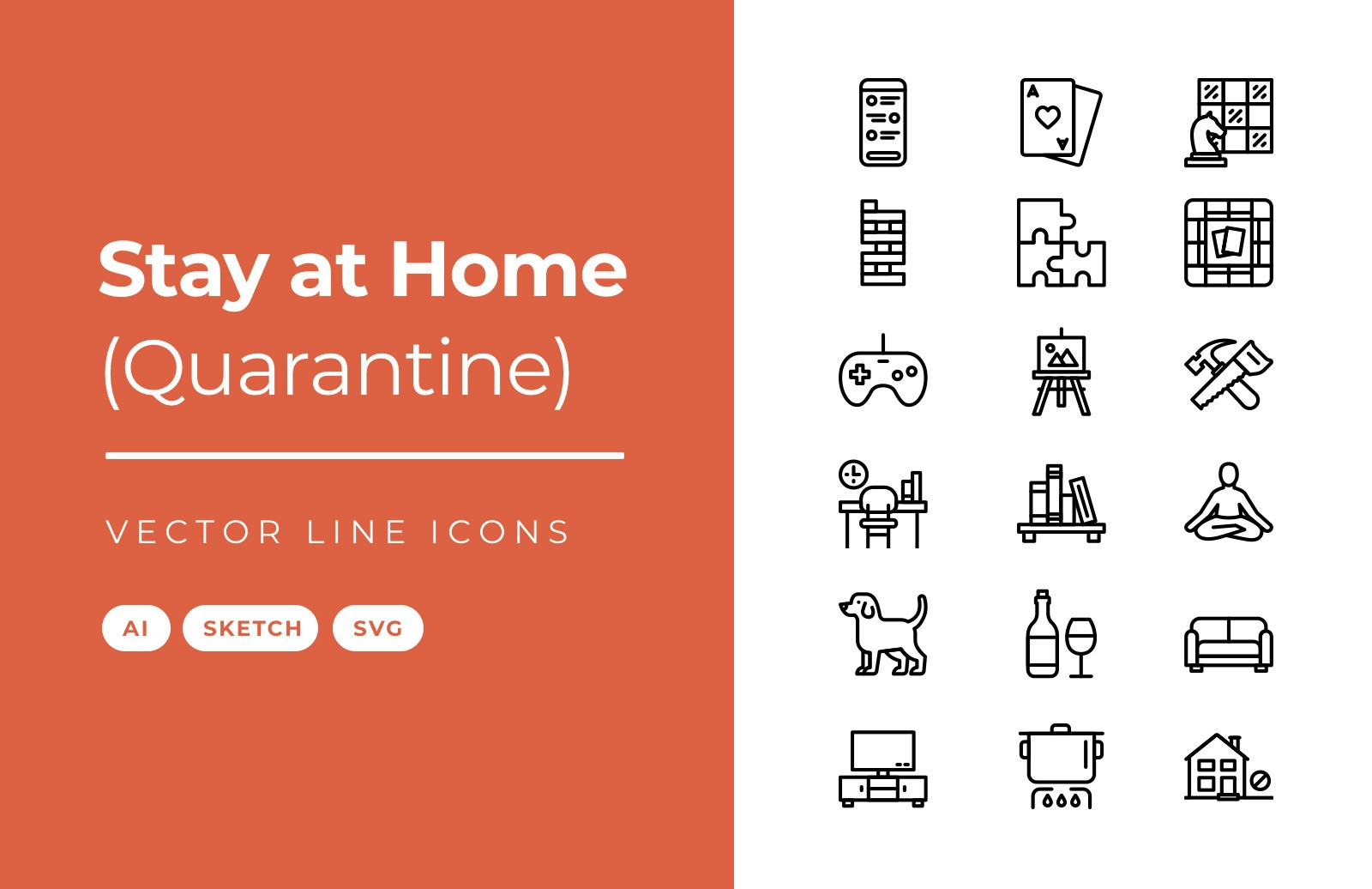 Stay At Home Vector Line Icons Preview 1A