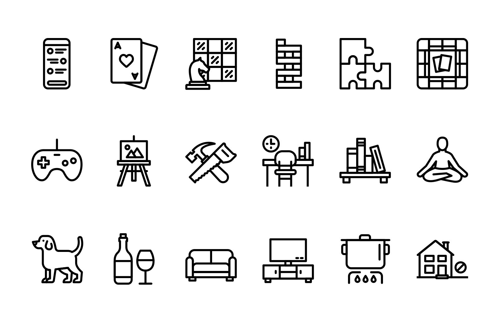 Large Stay At Home Vector Line Icons Preview 2