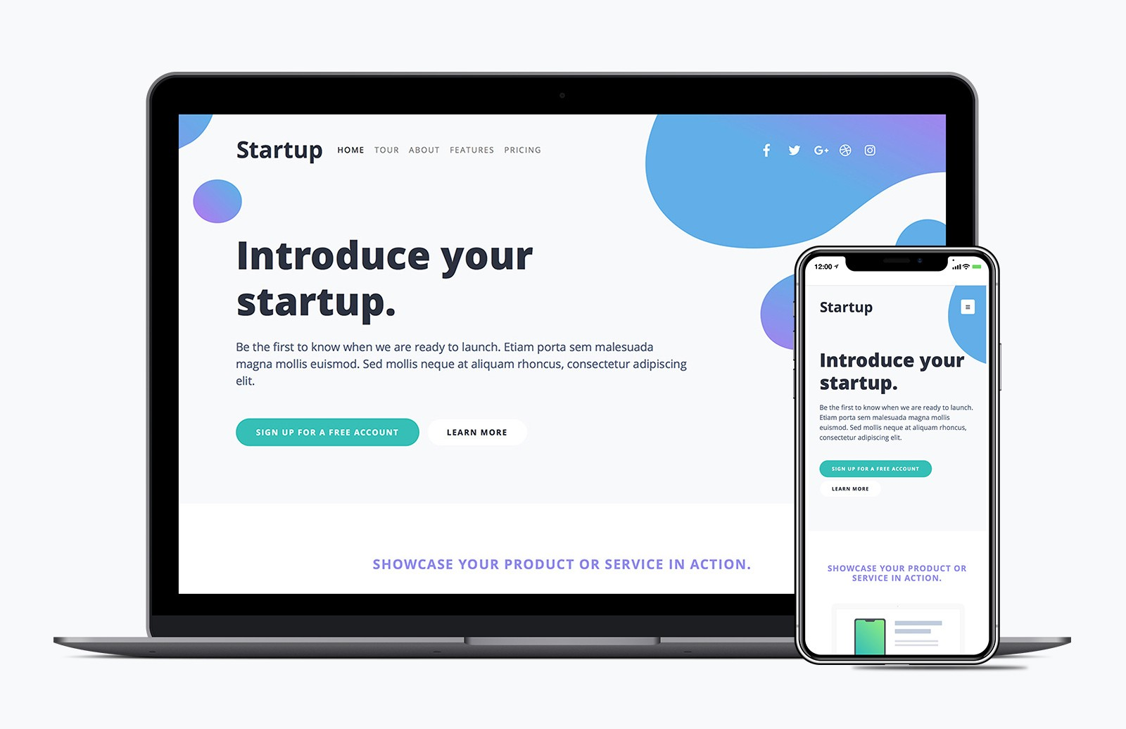 Startup Landing Page Bootstrap Template Preview 1