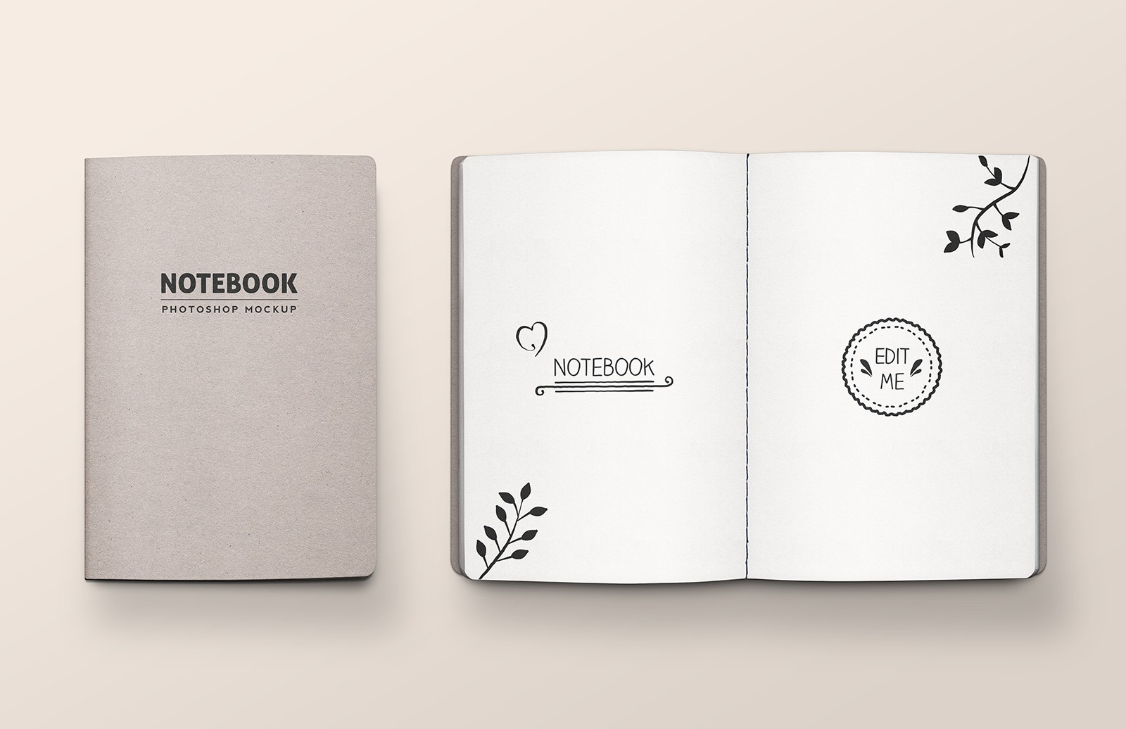Stitched Notebook Mockup Medialoot