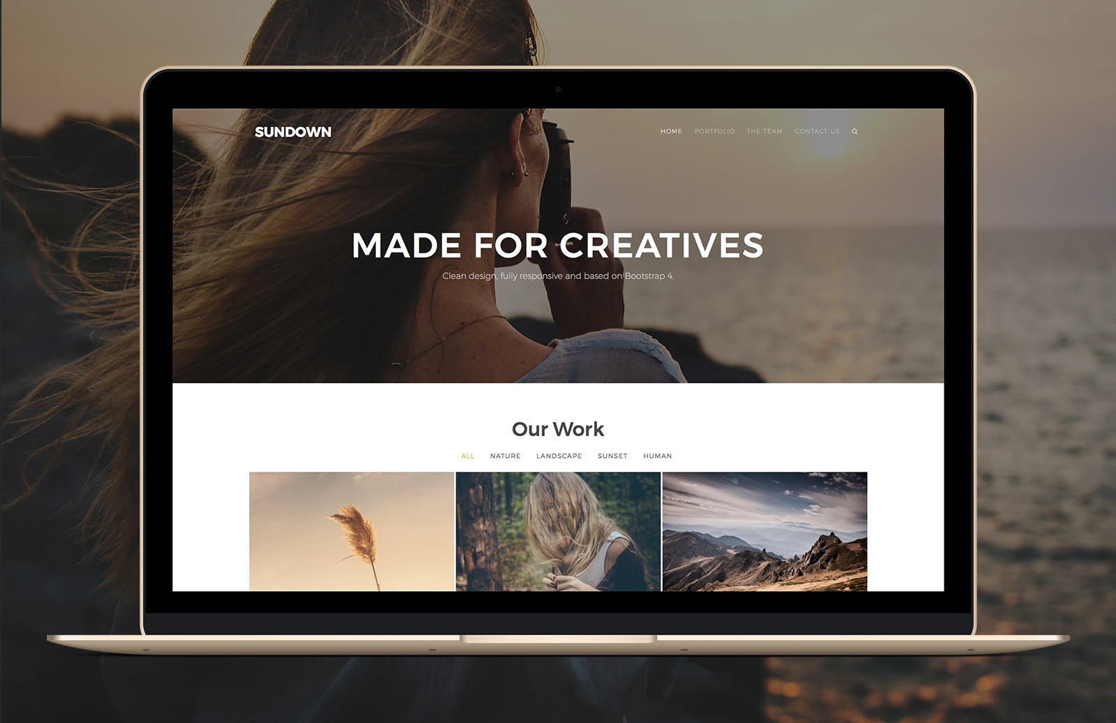 Sundown Bootstrap Portfolio Template Preview 1