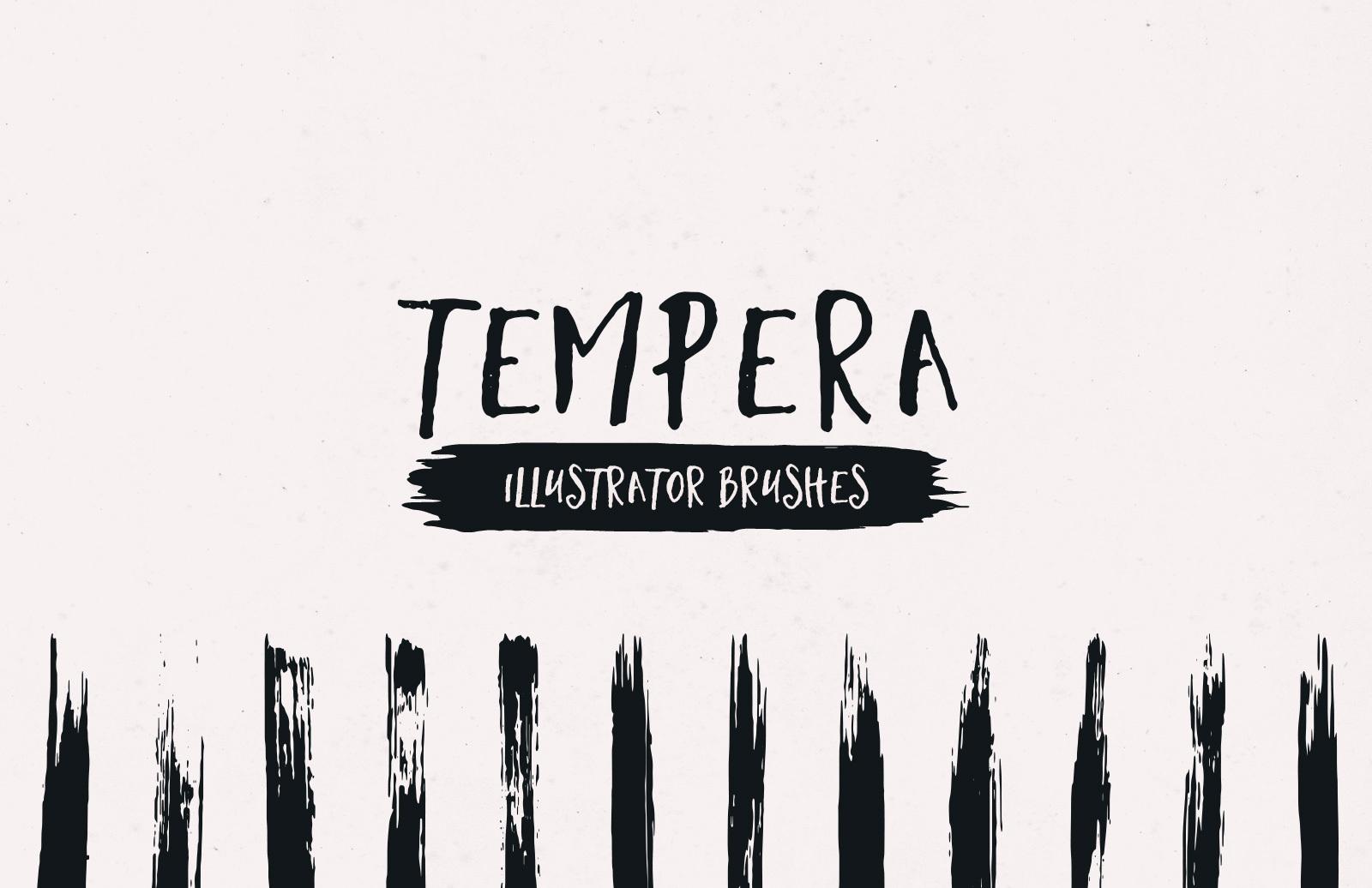 Tempera Strokes Illustrator Brushes Preview 1