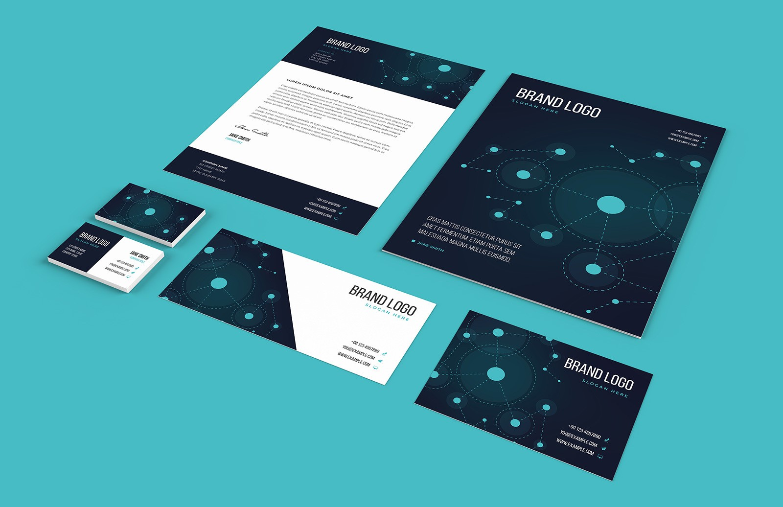 Tech Business Stationery Set Preview 1