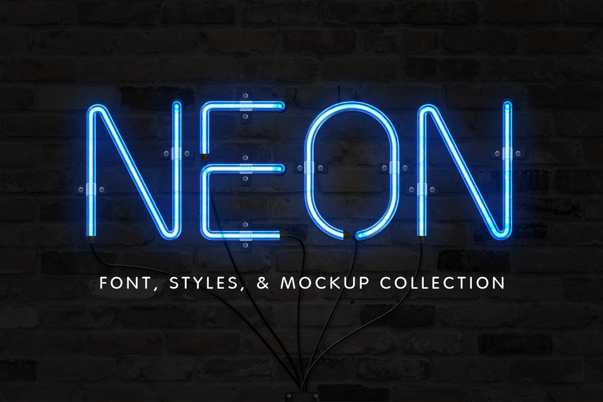 Neon Font Amp Effect Collection Medialoot