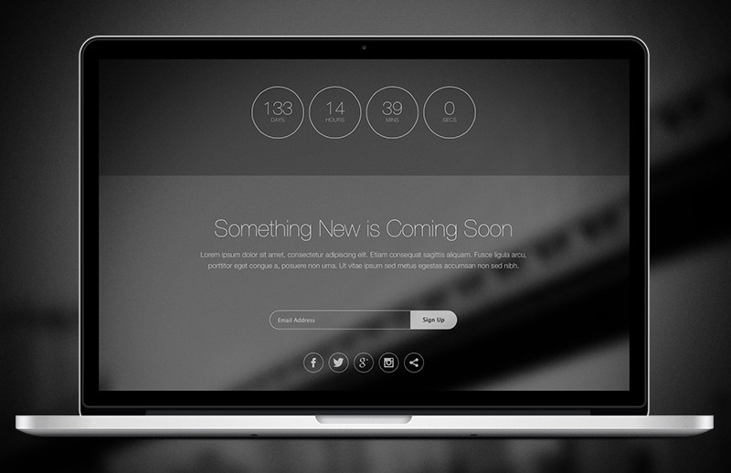 Large Thin  Html5  Coming  Soon  Template  Preview 1