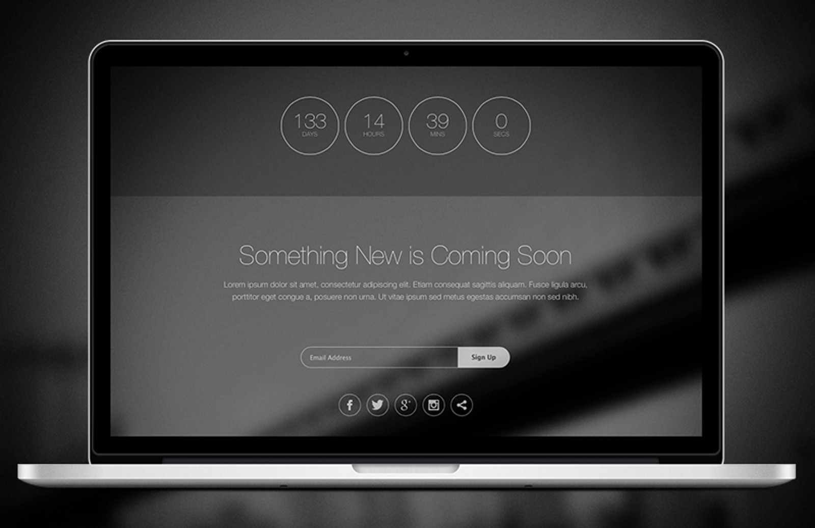Thin HTML5 Coming Soon Template — Medialoot