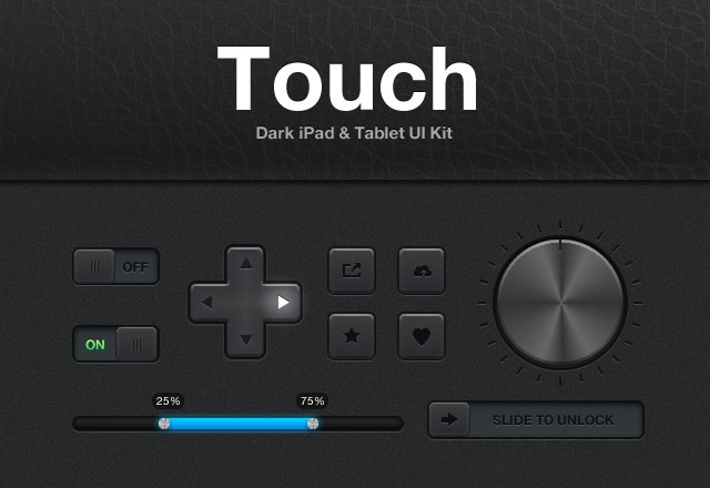 Touch: Dark iPad UI Kit