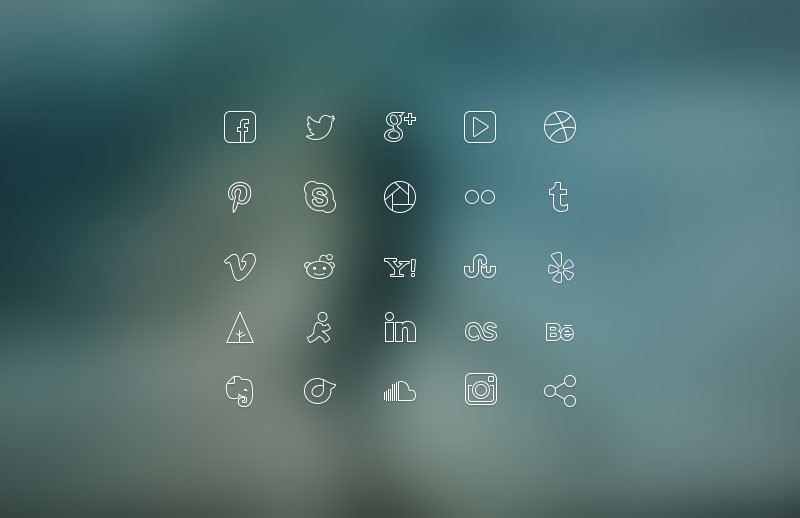 ultra thin social icon