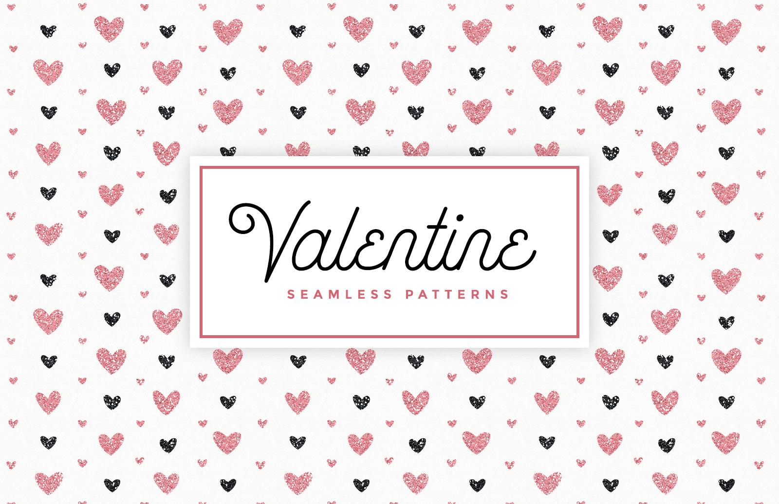 Valentines Day Glitter Seamless Patterns