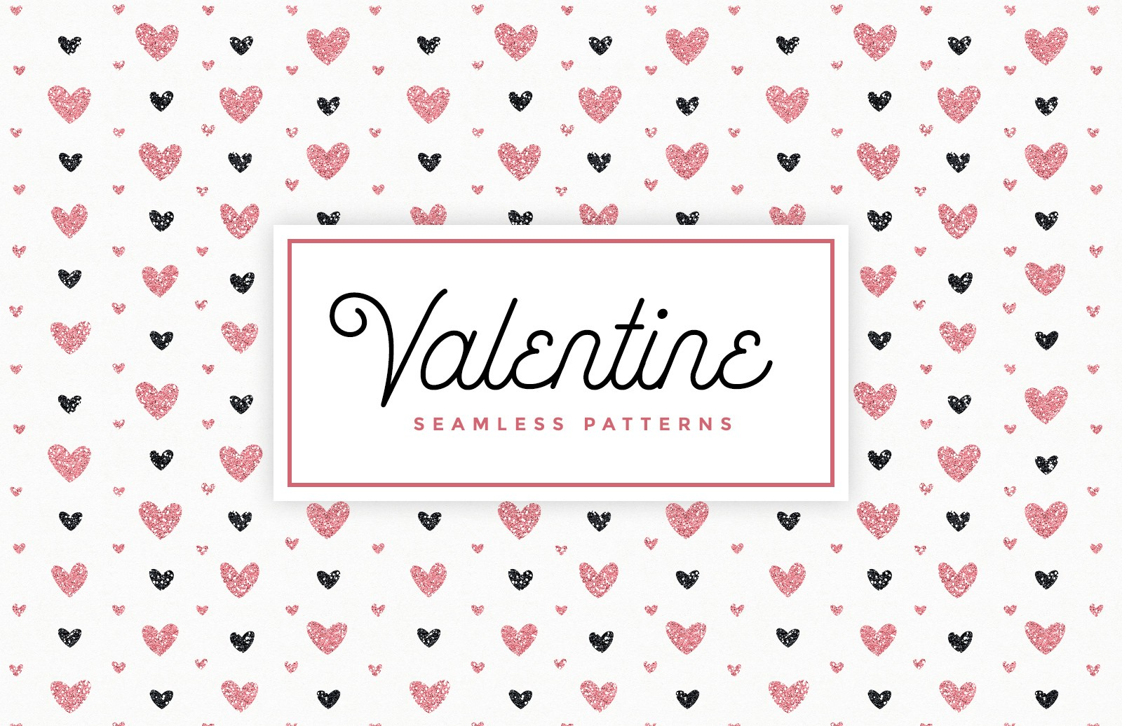 Valentines Day Glitter Seamless Patterns
