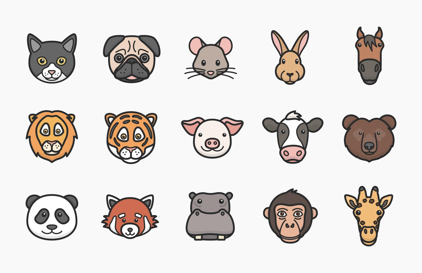 Large Vector  Animal  Faces  Preview 4