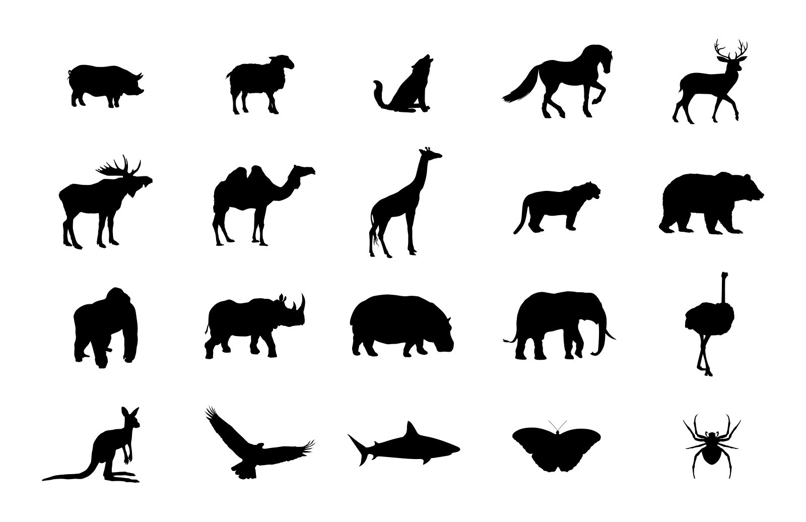 Large Vector  Animal  Silhoeuttes  Preview 5A