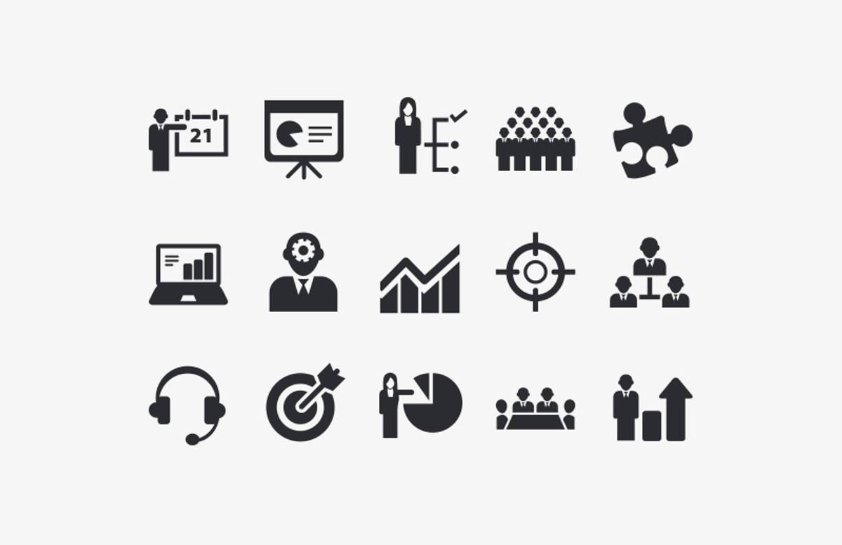 Vector  Business  Icon  Set  Preview 1A