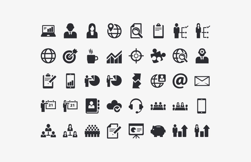 Vector  Business  Icon  Set  Preview 2A