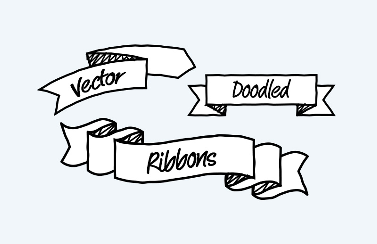Vector  Doodled  Ribbons  Preview 1