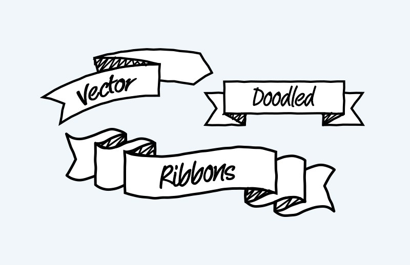 Vector Doodled Ribbons