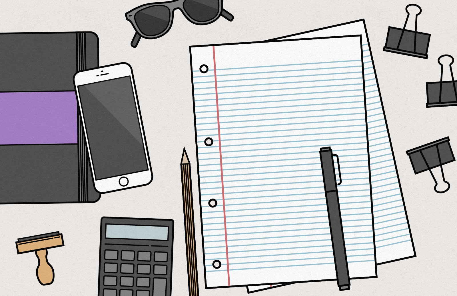Vector Desk Items Illustration