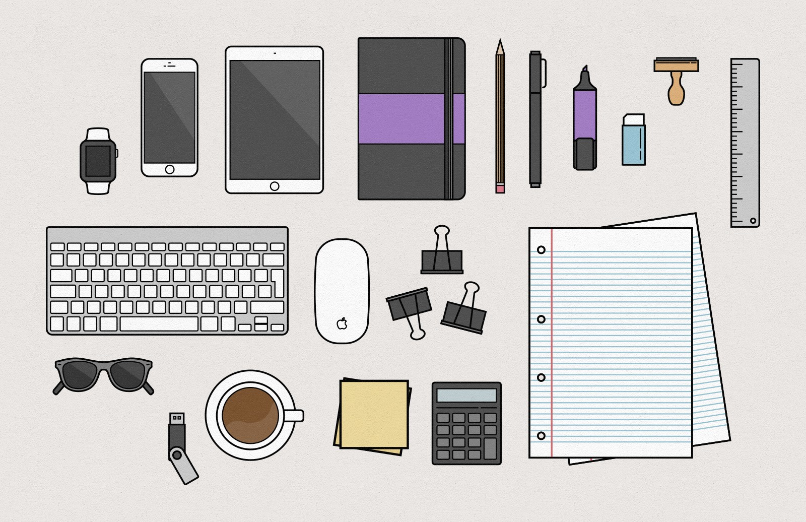 Vector Desk Items Illustration 2