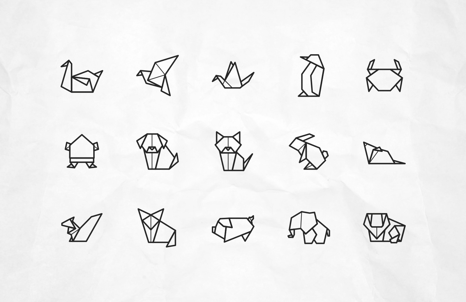Large Vector Origami Animal Icons Preview 2