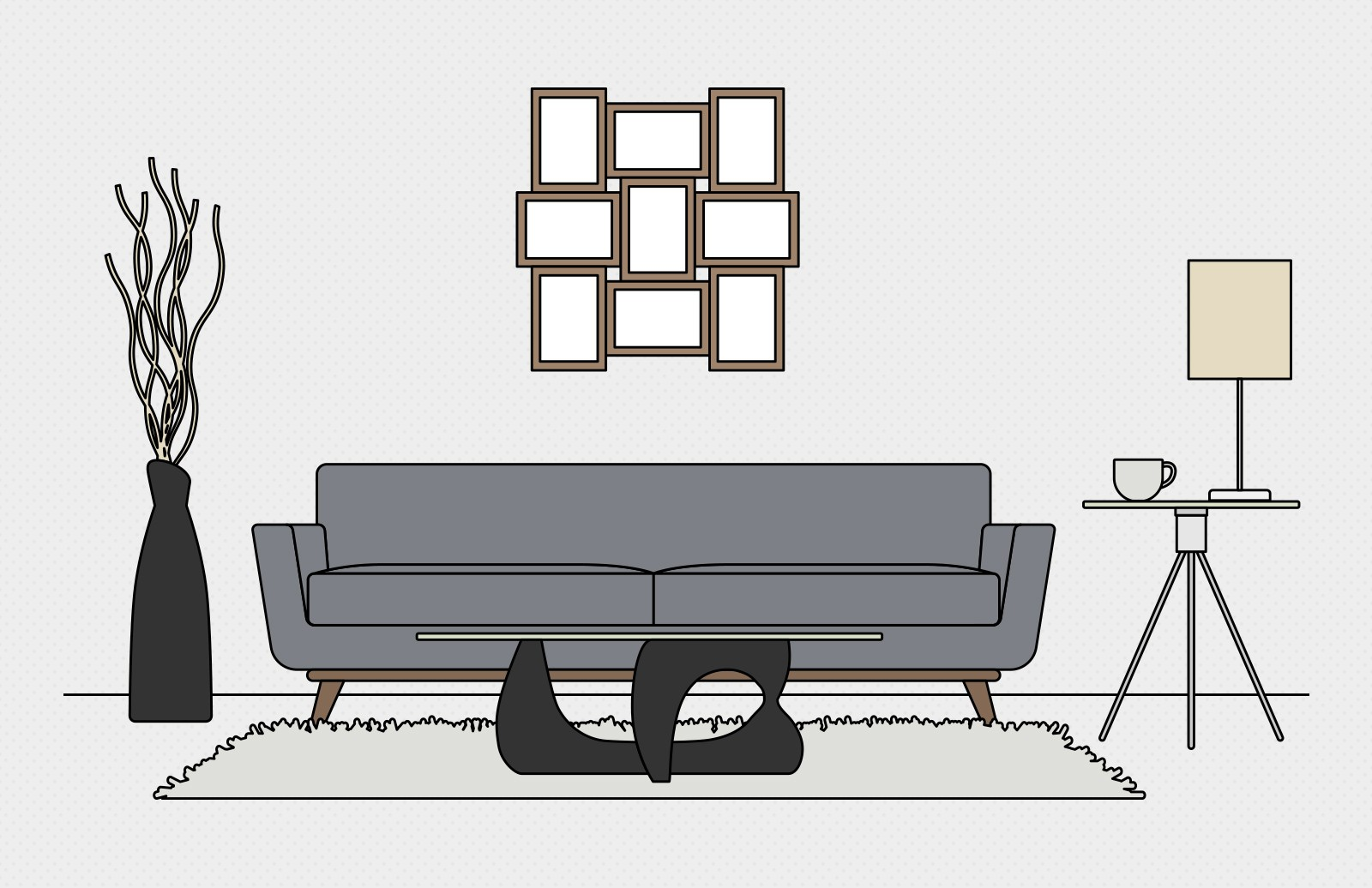 Vector  Living  Room  Scene  Creation  Kit  Preview 1A