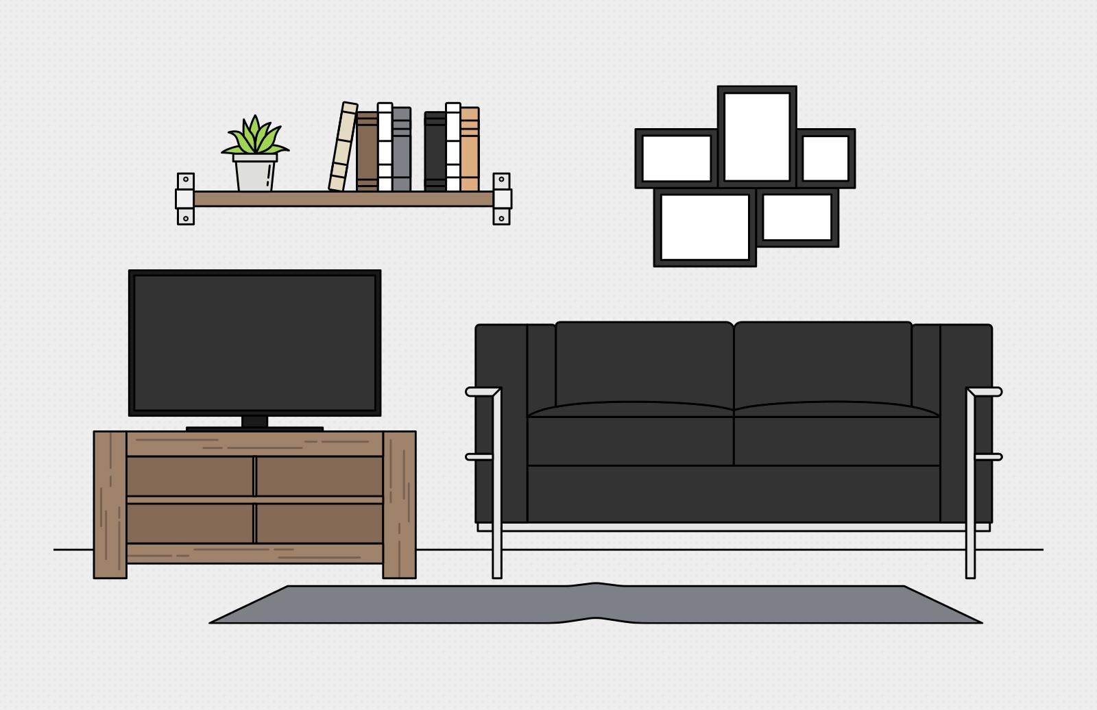 Vector Living Room Scene Creation Kit