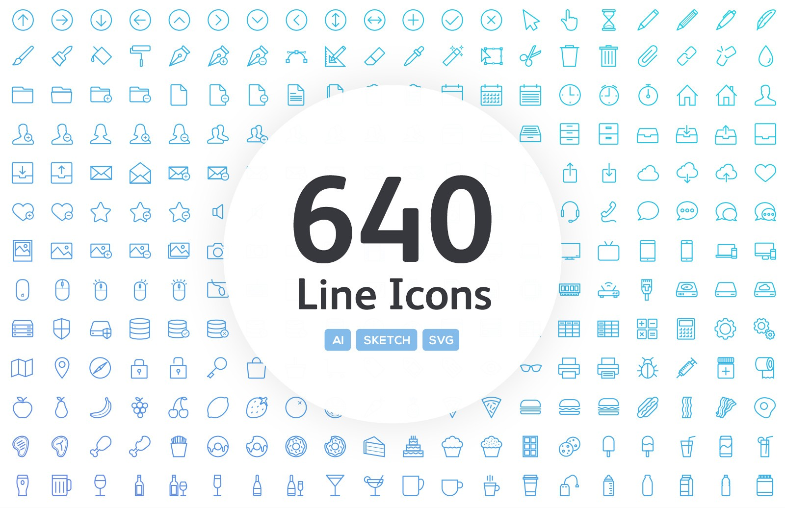 640 Vector Line App Icons