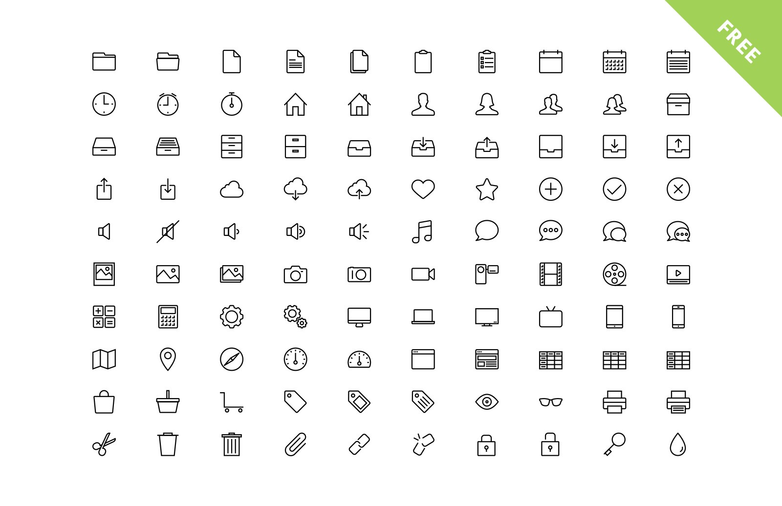 600 Vector Line App Icons (Free Sample) 2