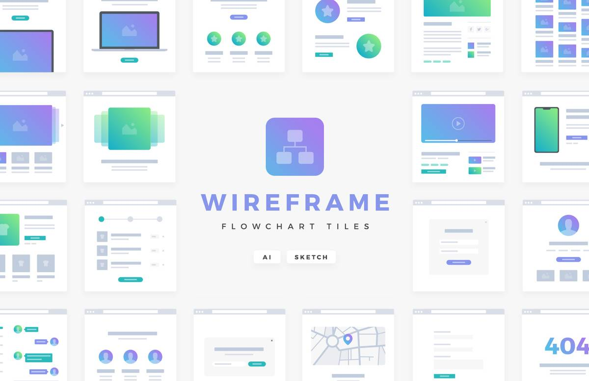 Vector Wireframe Flowchart Tiles Preview 1