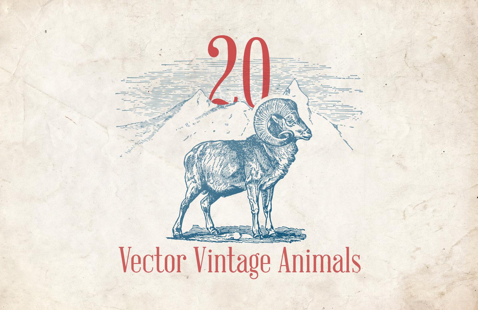 Vector Vintage Animals Preview 1