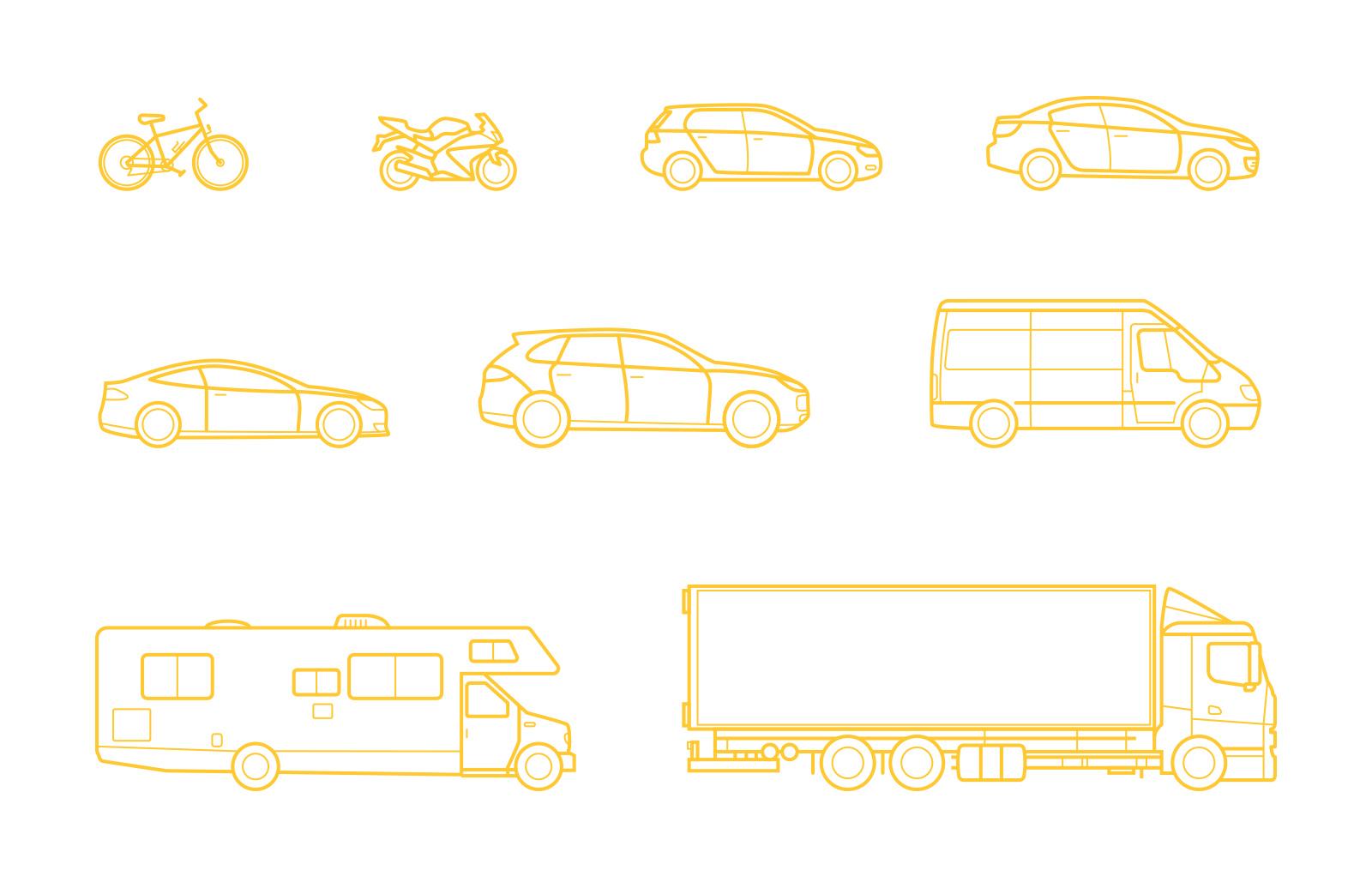 Large Vehicle  Line  Vectors  Preview 2