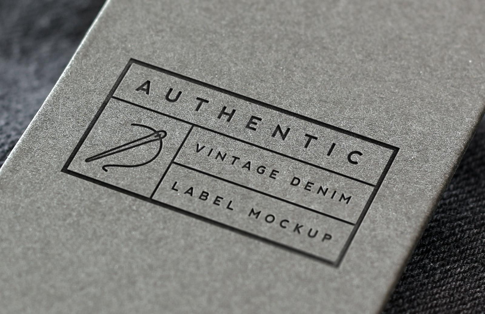 Vintage Denim Label Logo Mockup 1
