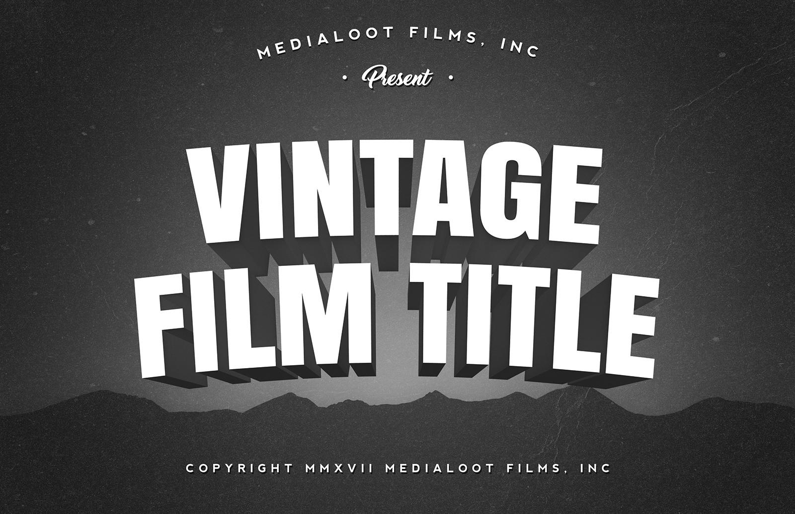 Vintage 3D Film Title Generator PSD